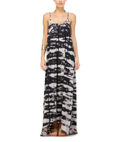 6c33fe99c8d6 love this product Taupe & Black Tie Dye Spaghetti-Strap Maxi Dress