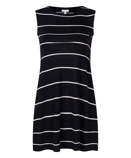 64ab62a6c63 love this product Black Stripe Linen-Blend Sleeveless Dress - Toddler