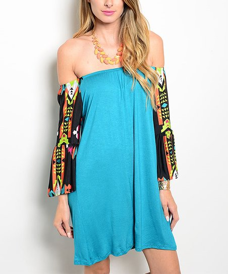 81f74c0d17d1 love this product Teal   Black Geometric Off-Shoulder Dress