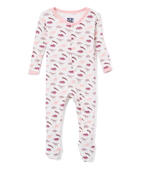 6837a780f KicKee Pants Pink Dino Footie - Infant | Zulily