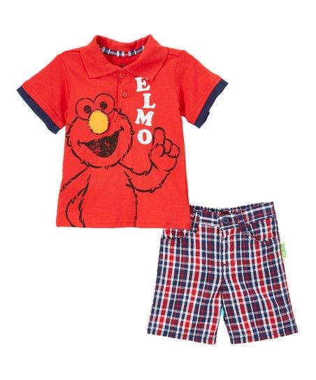 Sesame Street Boys Elmo Two-Piece Plaid Short Set