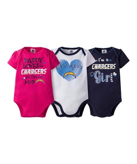 e781306c Gerber Childrenswear Los Angeles Chargers Pink Short-Sleeve Bodysuit Set -  Infant