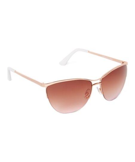 bfcca00366 Laundry by Shelli Segal Rose Gold   White Modern Aviator Sunglasses ...