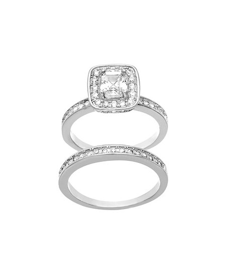 bliss Emerald Cut Swarovski® Crystal   White Gold Ring   Band Set ... 261878fba7