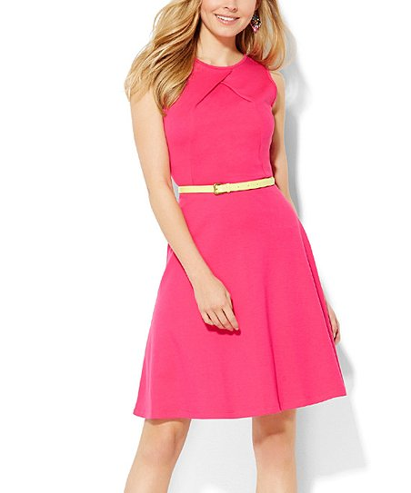 7f4c3bf9ab8 love this product Applauding Pink Pleat-Neck A-Line Dress - Women   Juniors