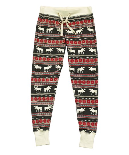 ece54d045 Lazy One Red   Black Moose Fair Isle Pajama Leggings - Women