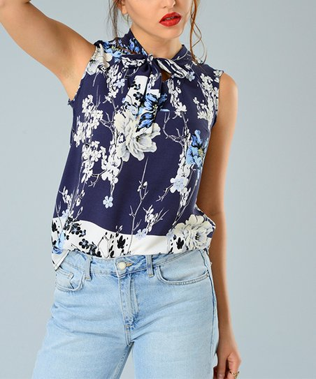 bab8615ef1b94 love this product Navy Blue Floral Tie-Neck Sleeveless Top
