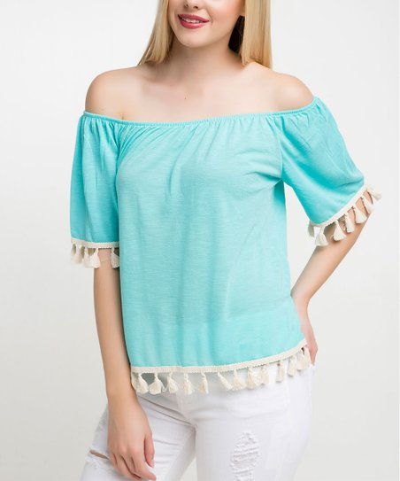 23b3ddb0288a love this product Turquoise   White Tassel Off-Shoulder Top - Women