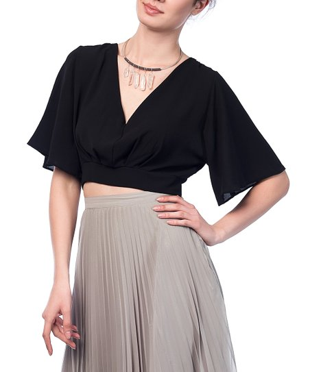 d405c9ce8a5 Milan Kiss Black Tie-Back Surplice Crop Top | Zulily