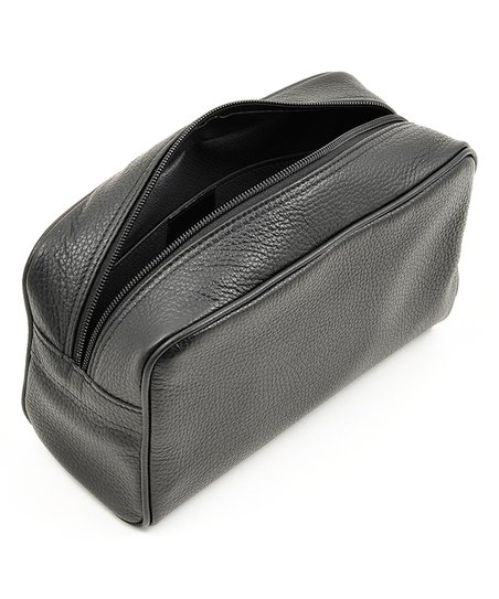 Ferruccio Laconi Black Zip-Top Leather Dopp Kit  bf04f50d5cb76