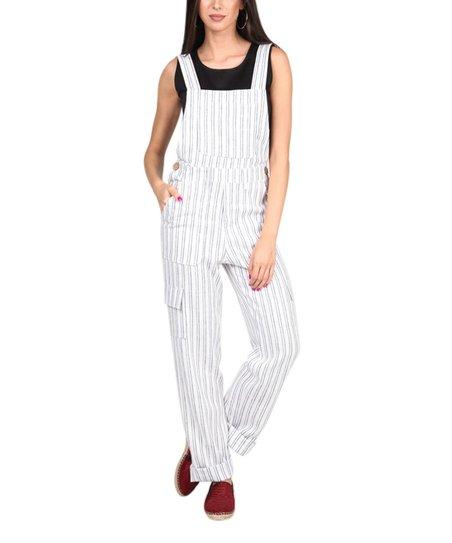 58ba081ae692 Carla by Rozarancio White   Blue Side-Button Linen-Blend Jumpsuit ...