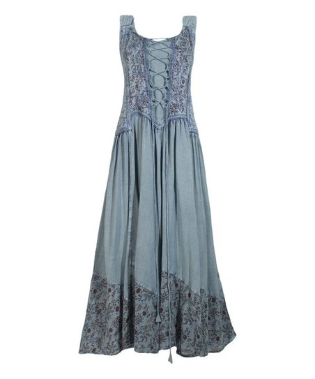Silver Blue Floral Peasant Maxi Dress   Women by Coline