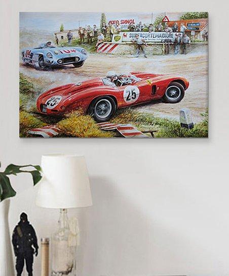 Icanvas Ferrari Vs Mercedes Vintage Drawing Gallery Wrapped