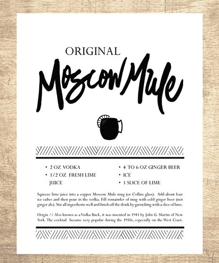 picture regarding Moscow Mule Recipe Printable named Lettered Protected Moscow Mule Hand-Illustrated Cocktail Recipe Archival Print