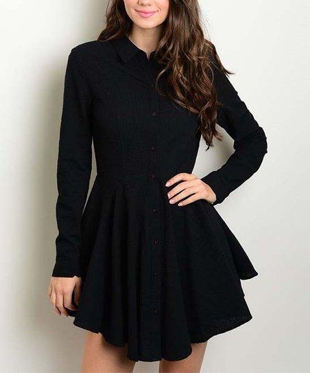 Forever Lily Black Mandarin Collar Skater Dress Zulily