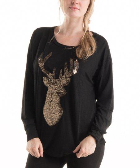 5f3de6d4cad Fashionomics Black & Copper Sequin Deer Sweatshirt   Zulily