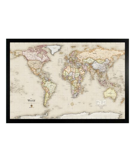 Framed Magnetic World Map.Home Magnetics World Travels Framed Magnetic Wall Map Zulily