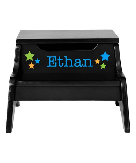 Brilliant Personal Creations Espresso Stars Personalized Step N Store Step Stool Cjindustries Chair Design For Home Cjindustriesco