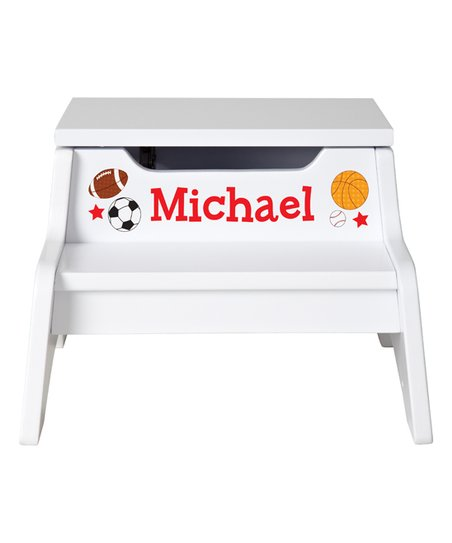 Phenomenal Personal Creations White Sports Personalized Step N Store Step Stool Cjindustries Chair Design For Home Cjindustriesco