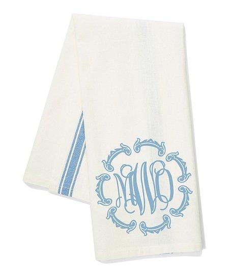 Initial Request Blue Frame Vine Monogram Kitchen Towel