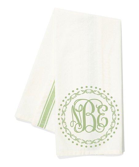 Initial Request Green Frame Vine Monogram Kitchen Towel