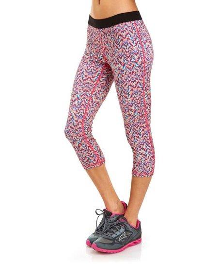 fd7d325d4a63f5 Soffe Blue & Pink Zigzag Dri Low-Rise Capri Leggings - Women | Zulily