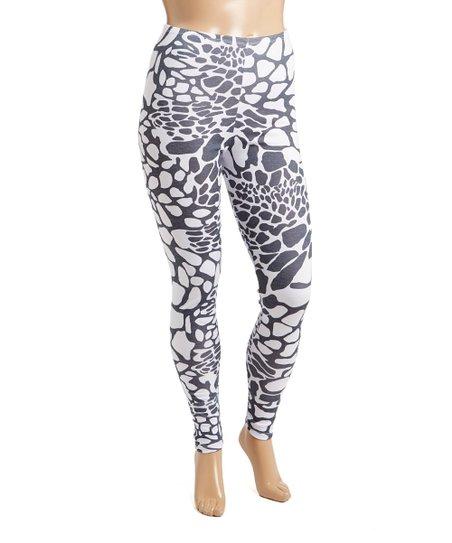 70c0dd79e11 Poliana Plus Black & White Leopard Leggings - Plus