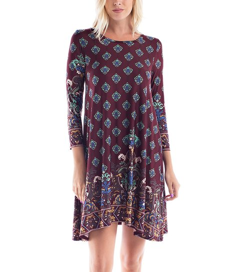 ffbbfd95 love this product Dark Burgundy & Aqua Arabesque Three-Quarter Sleeve Dress  - Plus