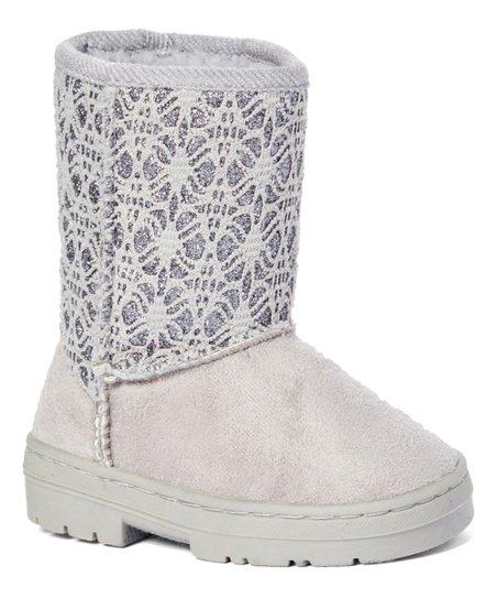 Gray Glitter Lace Boot