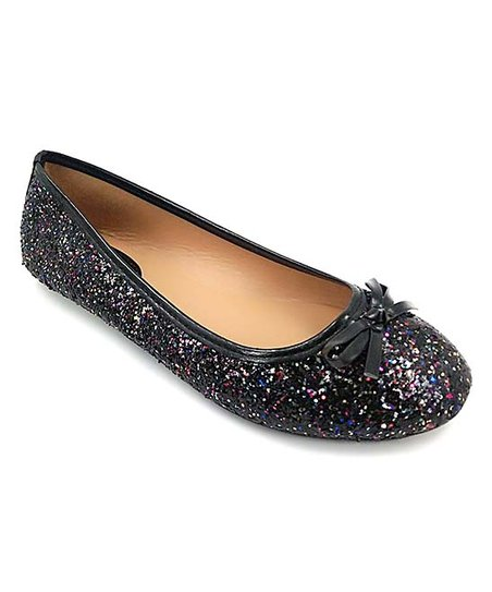 1fb739657d44 Ositos Shoes Black Glitter Flat - Women
