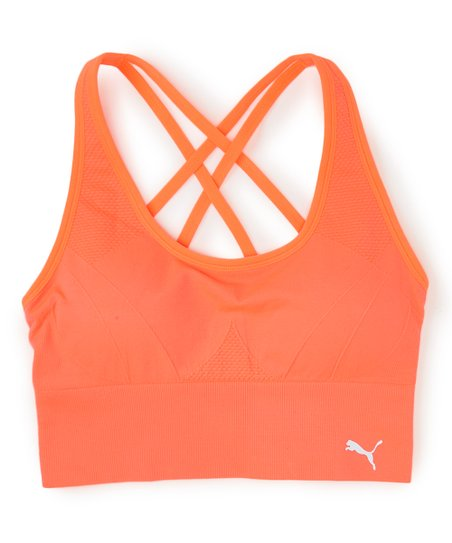 Puma Orange Criss Cross Back Seamless Sports Bra Best Price And Reviews Zulily