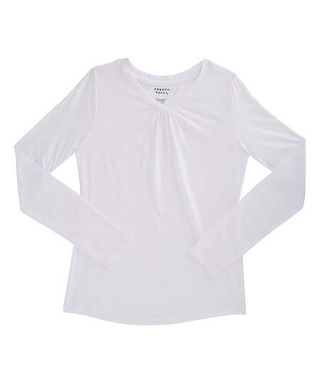 e2c6b6dcb5d love this product White Gathered Long-Sleeve Tee - Girls