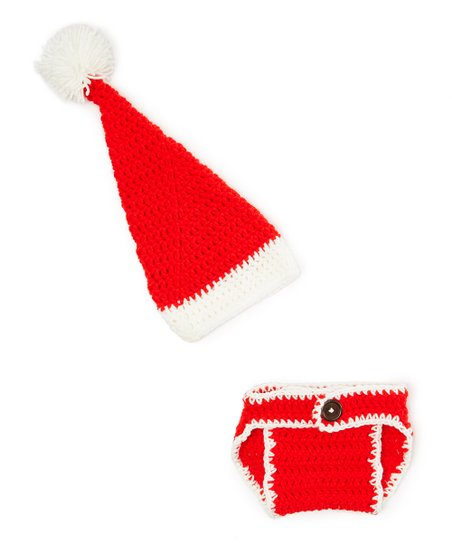 caa35a2831d Just For Baby With Love Red   White Crocheted Santa Hat   Diaper ...