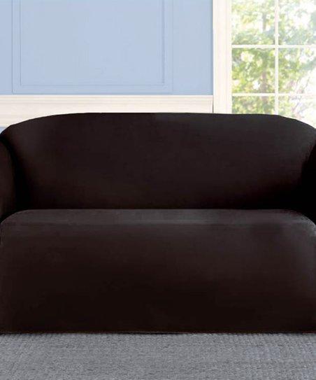Linen Store Black Microsuede Sofa Slip Cover | Zulily