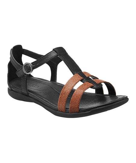 5e83d0c38f52 KEEN Black   Tortoise Shell Rose City Leather T-Strap Sandal - Women ...