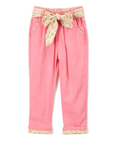 99271090b7 Trish Scully Child Fuchsia Floral Linen-Blend Paper Bag Pants ...