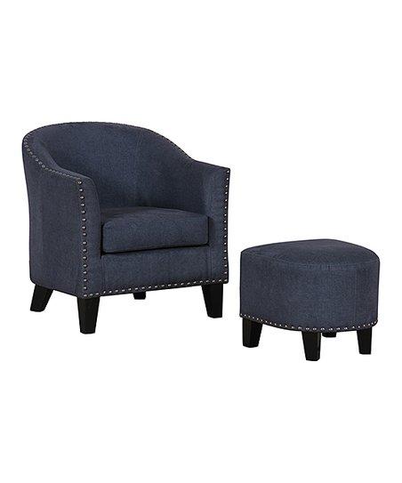 Remarkable Pulaski Vintage Denim Accent Chair Ottoman Creativecarmelina Interior Chair Design Creativecarmelinacom
