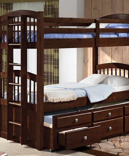 Donco Kids Dark Cappuccino Triple Twin Trundle Bunk Bed Drawers