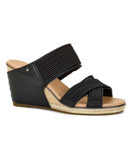 73ec7d07a51 UGG® UGG® Black Hilarie Leather Wedge Sandal