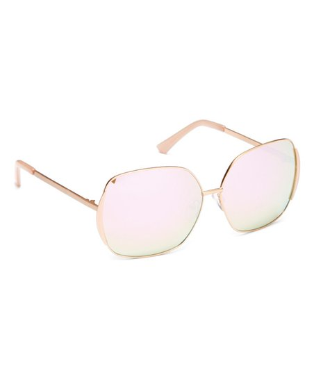 6cbc2f336a love this product Rose Gold Polarized Thin-Frame Base 6 Square Sunglasses
