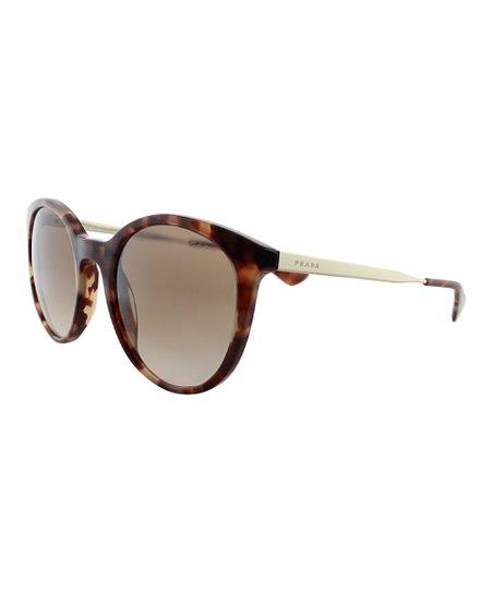 9eb0e2b585 Prada Gold Tortoise   White Thin-Frame Round Sunglasses