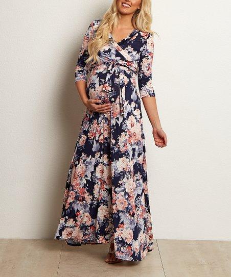 4b951f35107d0 love this product Navy Blue Floral Surplice Maternity/Nursing Maxi Dress