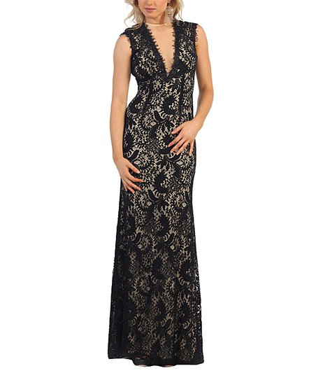 Royal Queen Black Lace Back Coutout V Neck Maxi Dress Women Zulily