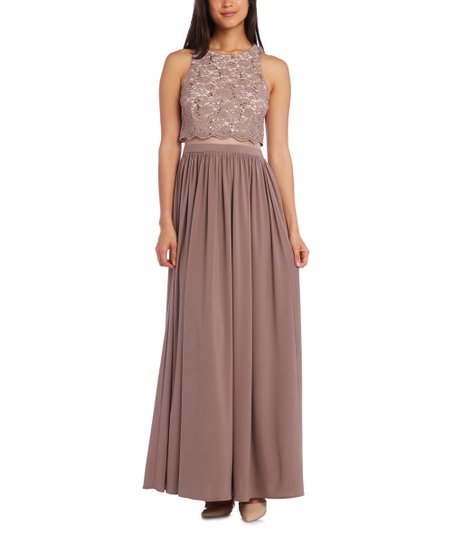 cbbecf620de5b love this product Taupe & Ivory Floral Lace Layered Maxi Dress