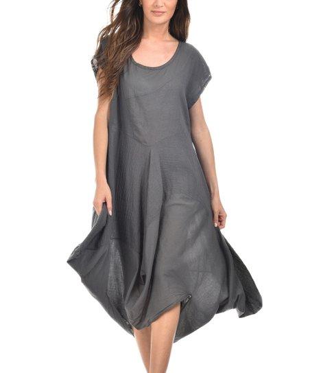 1dc03b147c54 LIN nature Dark Gray Sandra Linen Dress | Zulily