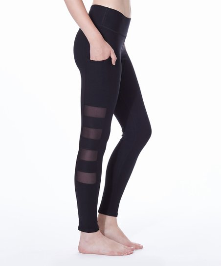 1c4cd1d7875da X by Gottex Black Mesh Side-Pocket Solid-Panel Leggings - Women | Zulily
