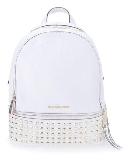 97b96abc3 Michael Kors Optic White Rhea Medium Studded Leather Backpack | Zulily