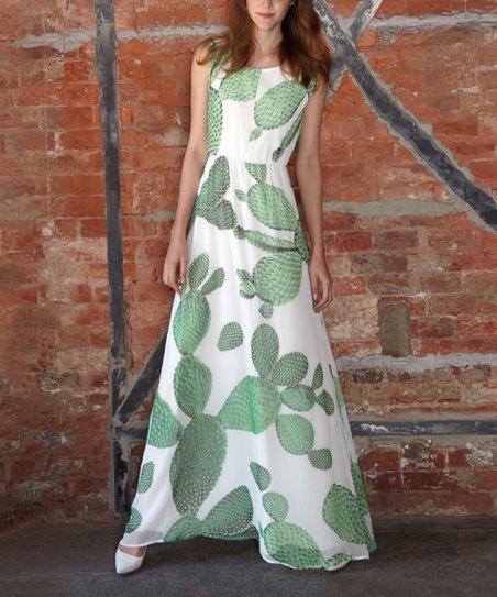 2e81687ac7 My2Ego Green & White Cactus Maxi Dress   Zulily