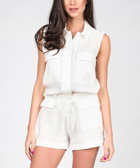 4f7420e35c04 Carla by Rozarancio White Linen Flap Pocket Button Romper