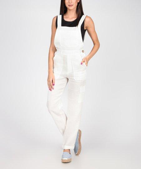 ddc2fdbce288 Carla by Rozarancio White Linen Open-Back Square-Neck Jumpsuit